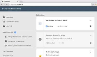 Afficher la page des extensions au format matériel design sur Chromebook
