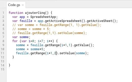 Google App Script Applique A Google Sheet Variables Methode