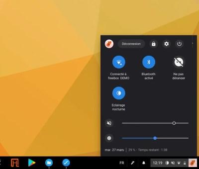 Le menu d'état de ChromeOS change d'apparence