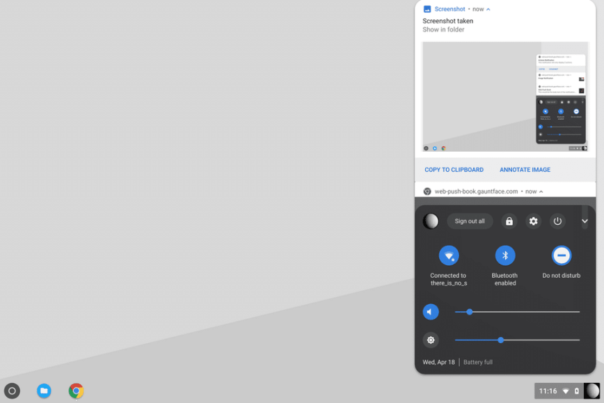 Le Menu d'état de Chrome OS et le centre de notifications fusionnent