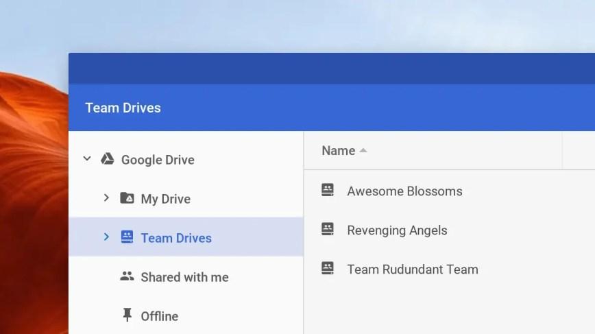Le Drive d'équipe accessible dans l'application Chrome OS Files