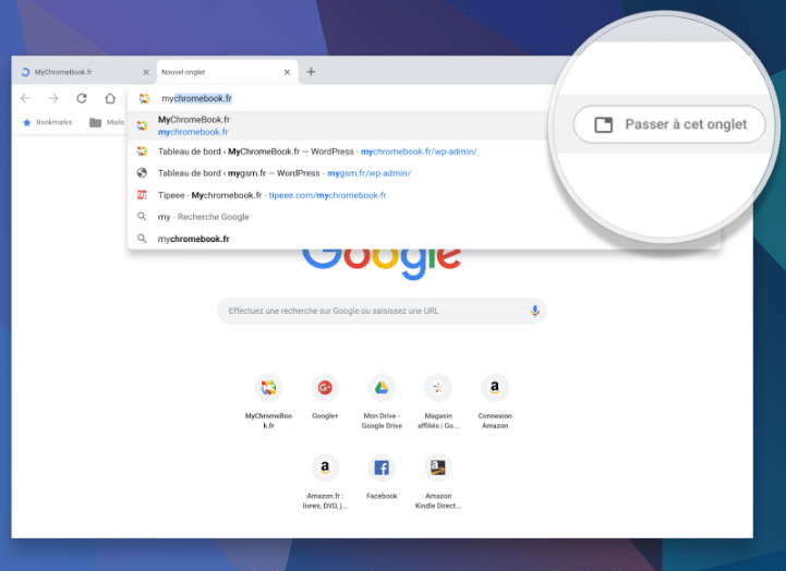 Passer à l'onglet ouvert dans Chrome