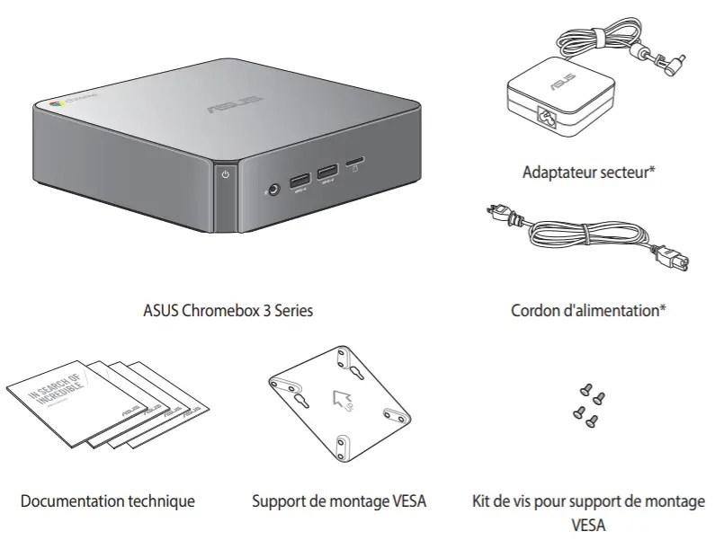 Contenu lors de l'achat de la Chromebox 3 d'Asus