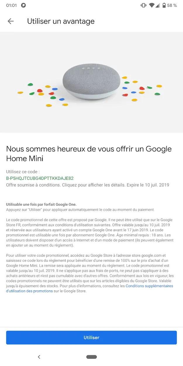 Un avantage offert par Google, le google Home