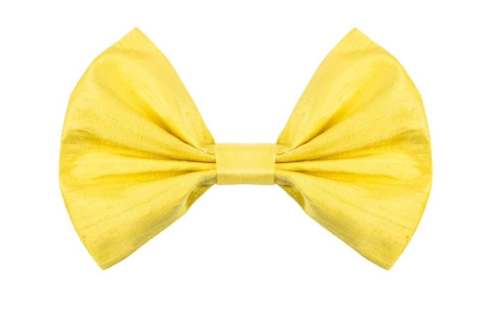 Bow in Mimosa Yellow Silk Bow hand-sewn in yellow shantung silk.