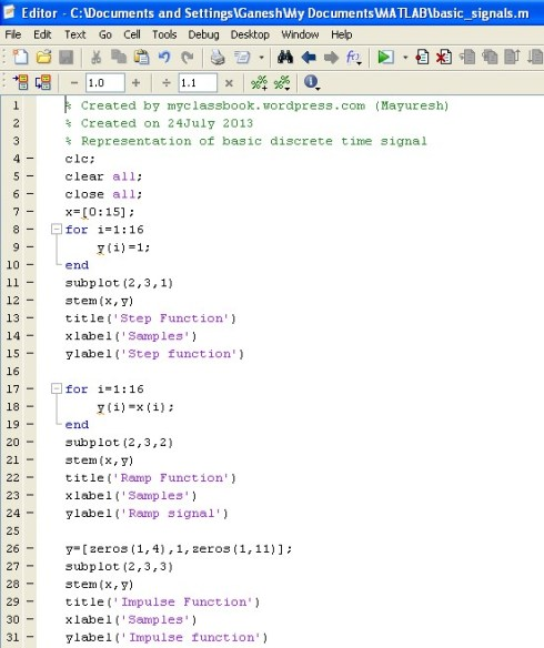 MATLAB program for representation of basic discrete time signals 1
