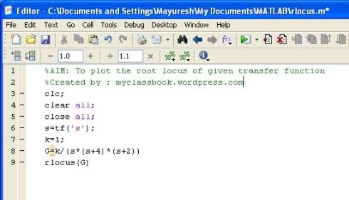 Root locus method Matlab program