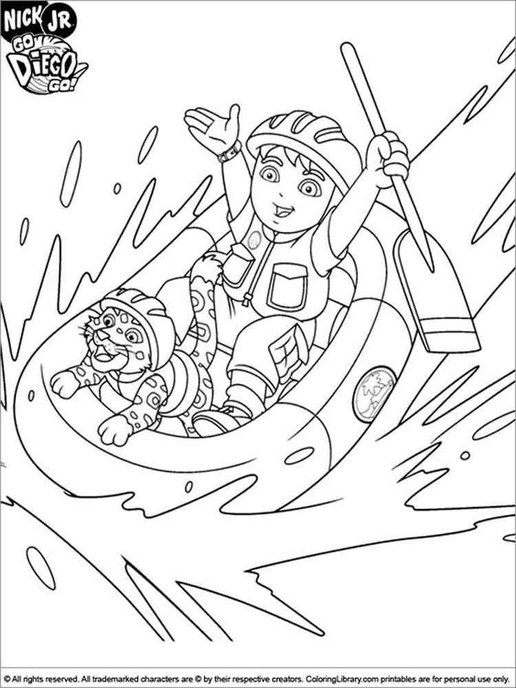 go diego go! coloring pages. free printable go diego