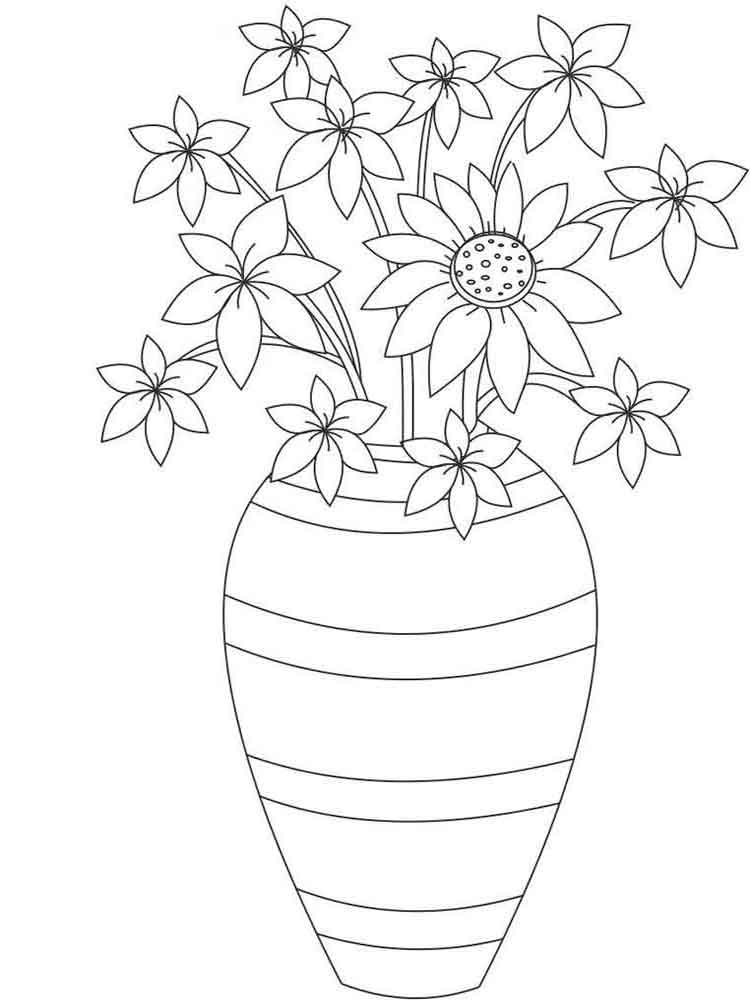Flowers in a Vase coloring pages. Download and print ... | colouring pages flowers in a vase