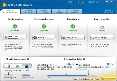 TuneUp Utilities 2013 automatically cleans up, and speeds up Windows PC