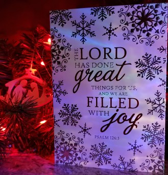 Ps 126:3 Christmas card and nativity ornament with red lights