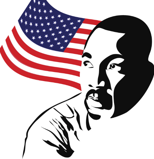 MLK graphic in front of an American flag.