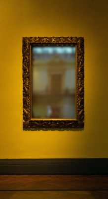 Joyology 101: Perception rectangular leaning mirror with brass-colored frame