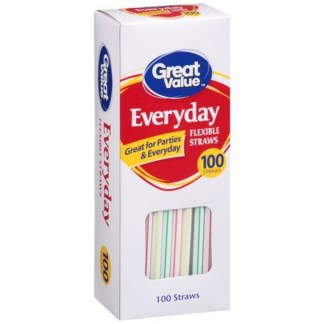 Great Value Paper Straws 100 Pieces