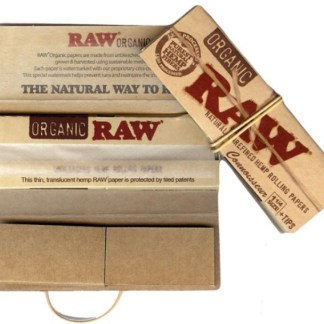 RAW ORGANIC NATURAL UNREFINED HEMP CONNOISSEUR ROLLING PAPERS with TIPS 1 1/4 SIZE, PACK/32