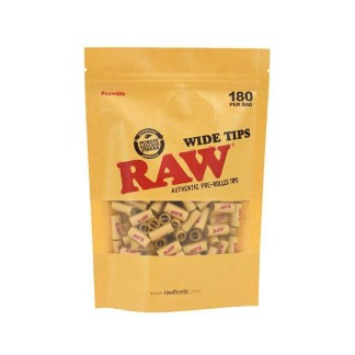 Raw Pre Rolled Wide Unbleached Tips 180 Peices In Bag