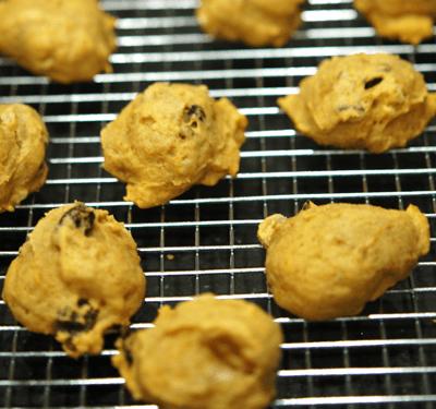 Hazelnut Pumpkin Orange cookies cooling on a rack.