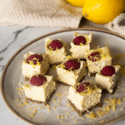 Raspberry Lemon Cheesecake Bites