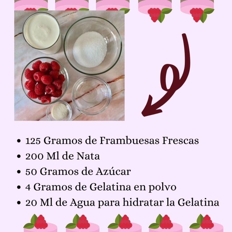 Ingredientes Mousse de Frambuesas