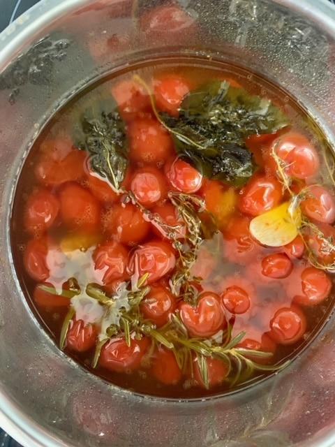 Tomates Cherry confitadas tras 45' a fuego lento