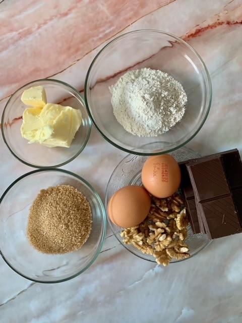 Ingredientes brownie de Chocolate y nueces