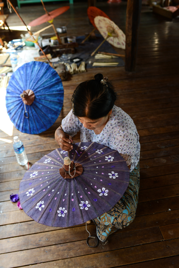 umbrella-making-inle-lake