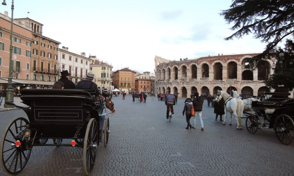 Horse carriages outside the Verona Arena