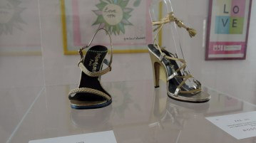 YSL platinum laminated with gold braid sandals, Villa Foscarini Rossi Shoes Museum