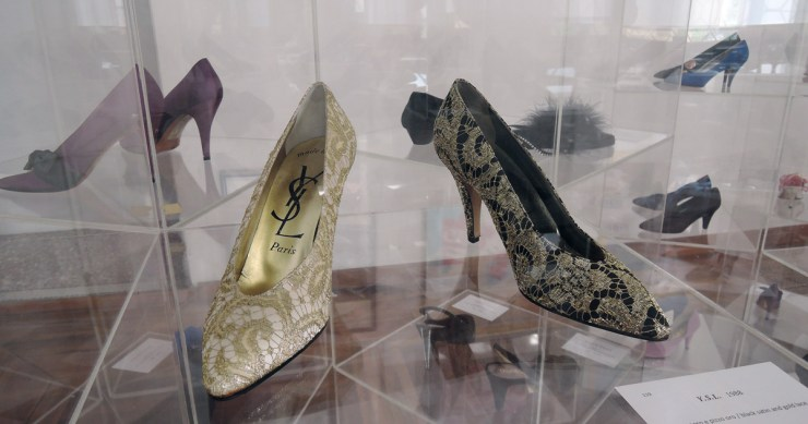 YSL satin and gold lace shoes