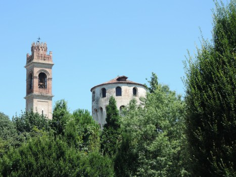 Church bell tower and Carrarese Tower