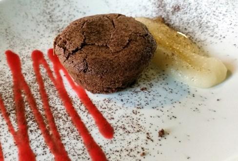 Hot chocolate pudding with pear custard