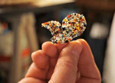 glass beads petals
