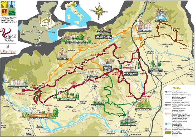 Prosecco road map by coneglianovaldobbiadene.it