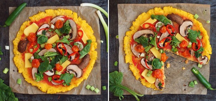 Polenta pizza with veggies, mushrooms and vegan cheese | My Cosy Retreat