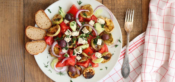Roasted zucchini salad with tomatoes, cucumbers, olives and tofu   My Cosy Retreat