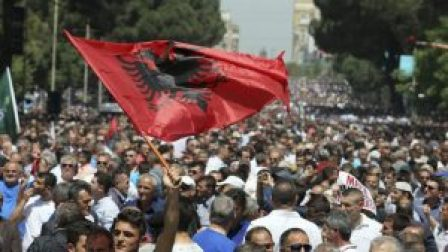 Supporters of Albania's Democratic Party taking part in a protest
