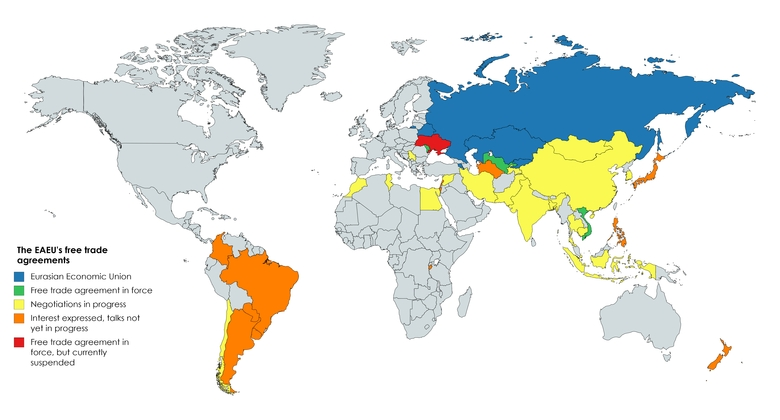 Map containing the status of the EAEU's free trade agreements.