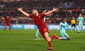 Kostas Manolas after scored the goal that eliminated Barcelona.