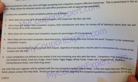 Winn Dixie Competitor instructions