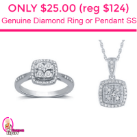TODAY ONLY!  Genuine Diamond Ring or Pendant Only $25.00 (reg $124.99)!!