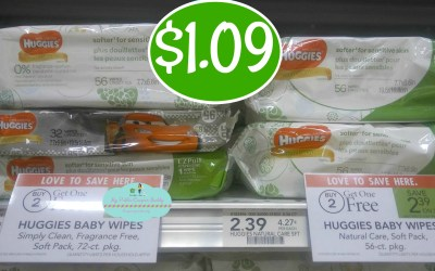 Huggies Wipes Soft Pack $1.09 at Publix