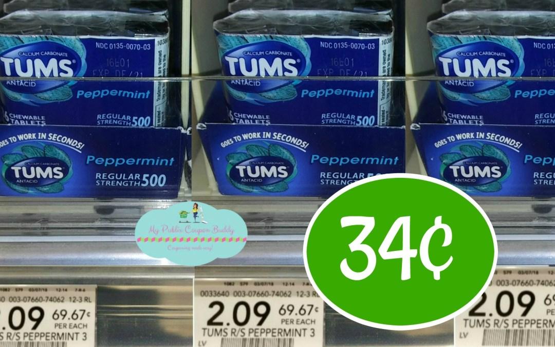 Tums 3pk 36 ct. just 34¢ at Publix