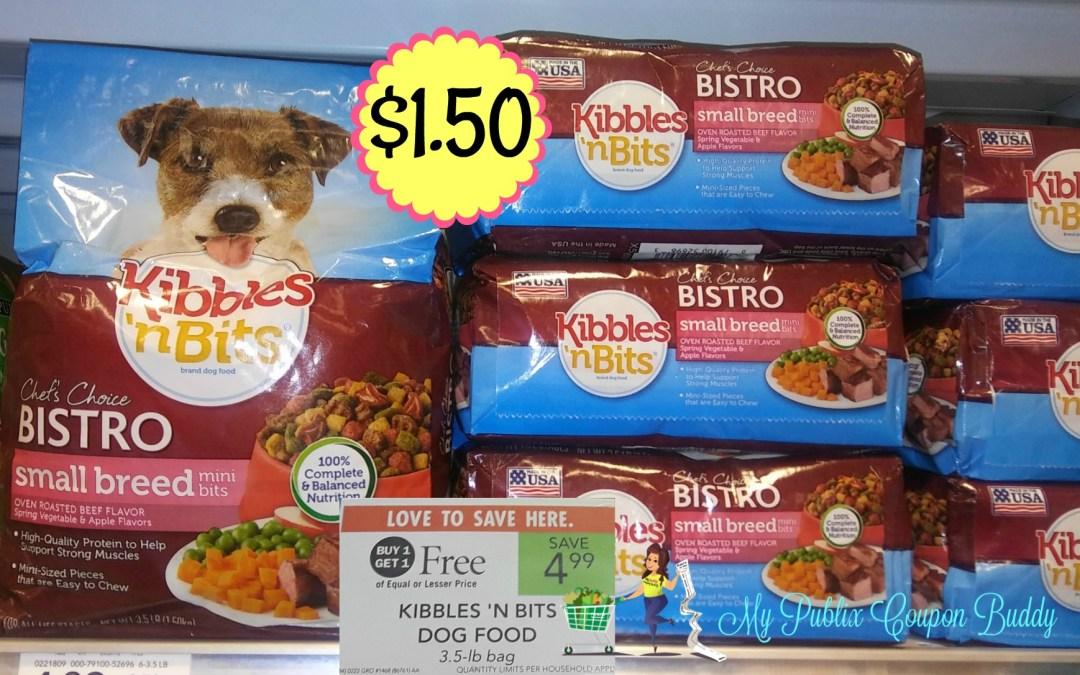 Kibbles & Bits Dog Food $1.50 a bag at Publix