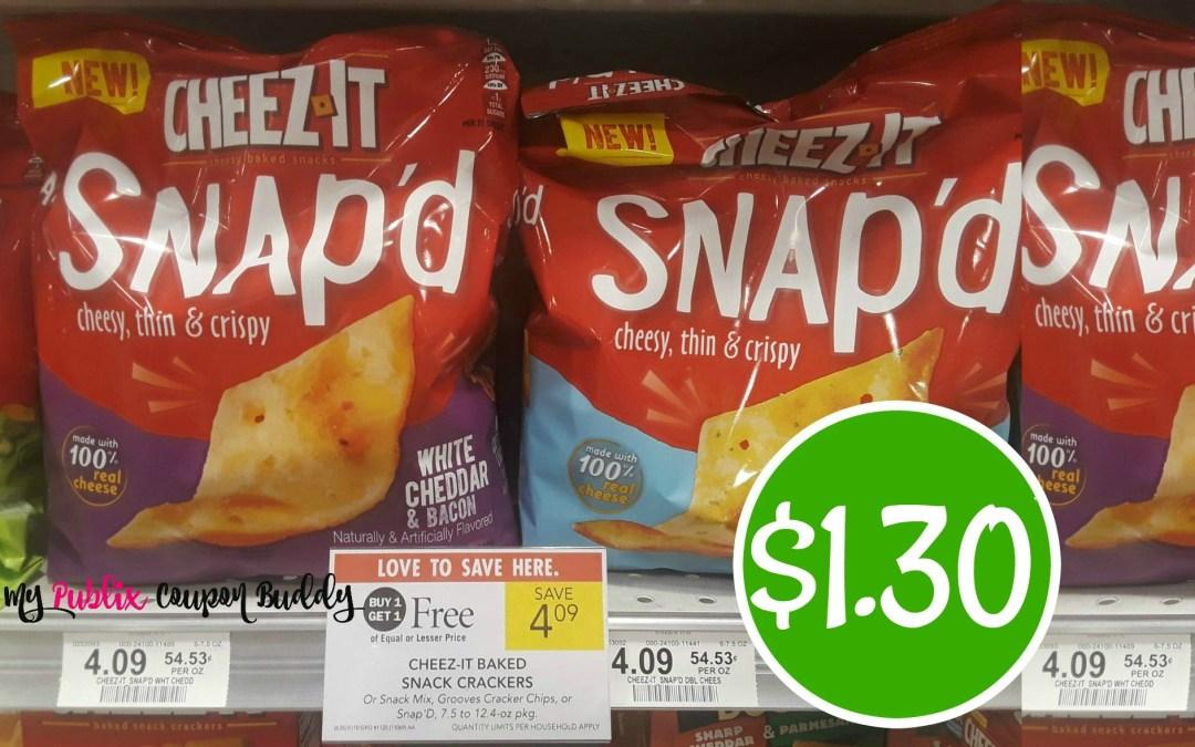 Cheez It Baked Snap'd Crackers $1.30 a bag at Publix