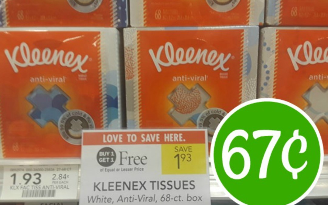 Kleenex TIssues 67¢ at Publix