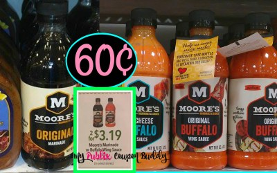 Moore's Marinade or Wing Sauce 60¢ at Publix