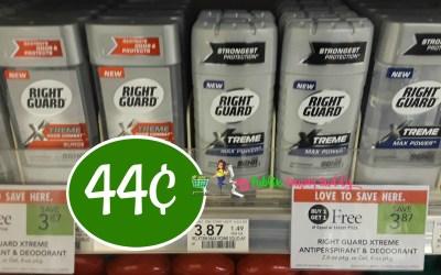 Right Guard Deodorant 44¢ at Publix