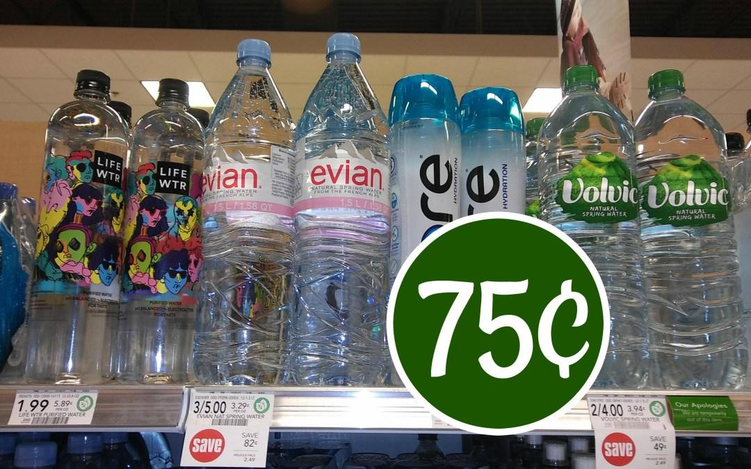 Evian Water 1.5L bottle 75¢ at Publix