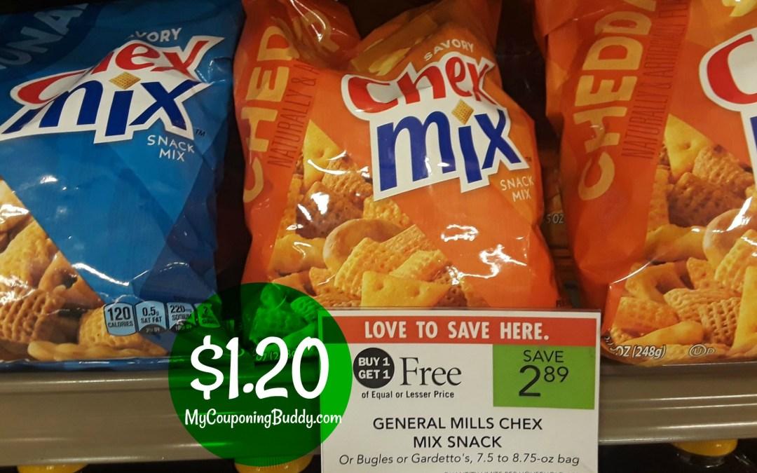 Chex Mix $1.20 a bag at Publix