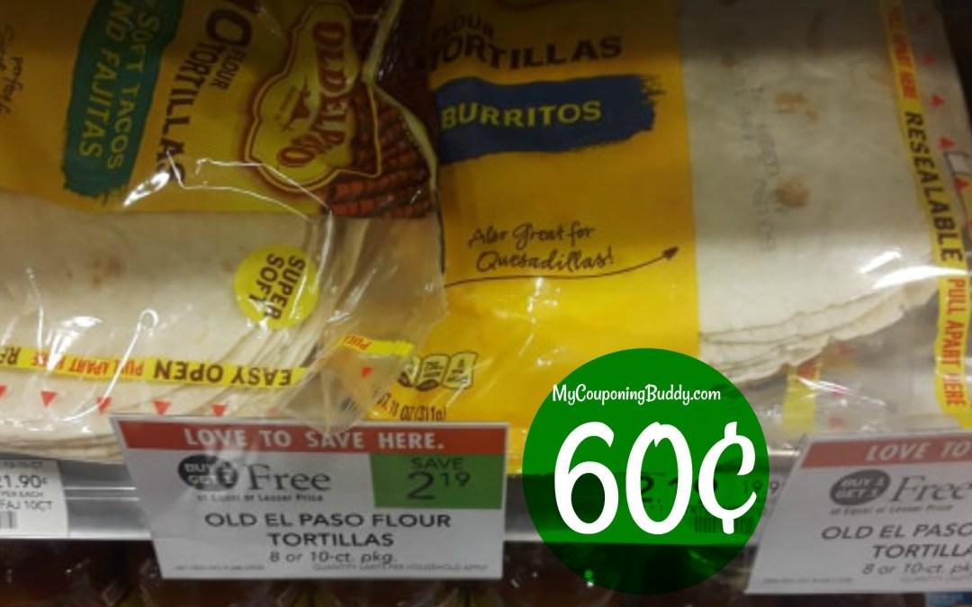 Old El Paso Tortilla Shells 60¢ at Publix
